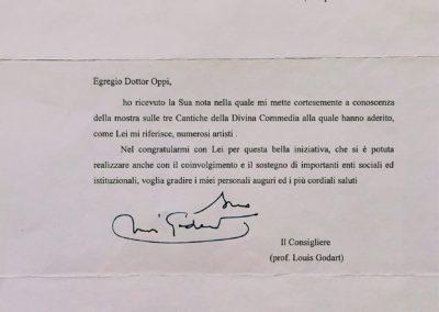 Lettera di Luis Godart dalla Presidenza dalla Repubblica italiana